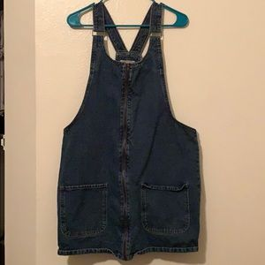 Primark denim overall zip front dress